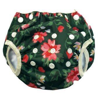 BABYKIDS95 กางเกงผ้าอ้อมว่ายน้ำ ปรับขนาดได้ ไซส์เด็กแรกเกิด-7 กก. ลายดอกไม้(สีเขียว)