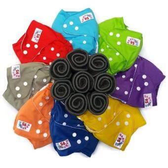 BABYKIDS95 กางเกงผ้าอ้อมกันน้ำ+แผ่นซับชาโคล Size:3-16กก. เซ็ท 8 ตัว (เหลือง/ฟ้า/แดง/เขียว/เทา/ส้ม/น้ำเงิน/ม่วง)