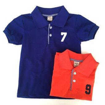 เสื้อโปโลเด็ก 1-3 ปี แพ็คประหยัด 2 ตัว สีส้ม & สีน้ำเงิน
