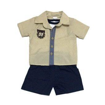 ฺBaby เซ็ทเสื้อผ้าเด็กชาย 3ชิ้น ( เสื้อเชิ๊ต+เสื้อกล้าม+กางเกง ) สีครีม/ดำ