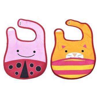 ผ้ากันเปื้อนเด็กลายสัตว์ 2 ชิ้น (ลายเต่าทอง + แมว)