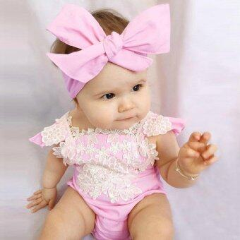 Harga Cute Lovely Baby Girl Lace Floral Romper Suit Summer Infant Fashion Triangle Jumpsuit with Headband - intl