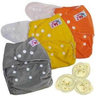 กางเกงผ้าอ้อมกันน้ำ+แผ่นซับไมโครฯ Size:3-16กก. เซ็ท3ตัว (Orange/Yellow/Grey)