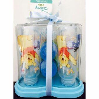 Disney กิฟเซ๊ต ขวดนมหมีพู 8 ออนซ์ + ที่วางขวดนมแพ๊ค 4ขวด สีฟ้า