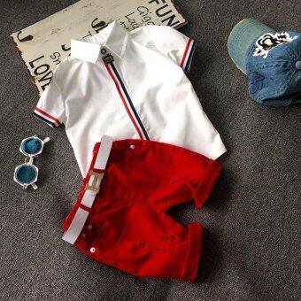 เสื้อผ้าเด็กผู้ชายชุดใหม่สไตล์ซัมเมอร์แฟชั่นเสื้อยืด+สั้น-ระหว่างประเทศ