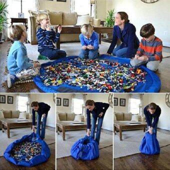 ถุงเก็บของเล่นพกพาสีฟ้า ขนาดใหญ่