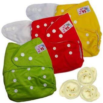 กางเกงผ้าอ้อมกันน้ำ+แผ่นซับไมโครฯ Size:3-16กก. เซ็ท3ตัว (Yellow/Red/Green)