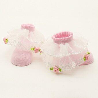 Jiayiqi เจ้าหญิงสาวเอวอ่อนเด็กแรกเกิดดอกกุหลาบประดับฟูลื่นเท้าถุงเท้าผ้าฝ้าย (image 1)
