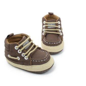 รองเท้าเด็ก รองเท้าหัดเดิน ผ้าใบหุ้มข้อสีน้ำตาล ใส่สบายเท้า ขนาดเด็ก 6-12 เดือน