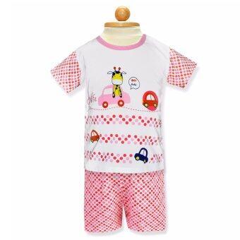 Babybrown ชุดเด็ก เสื้อแขนสั้น , กางเกงขาสั้น สีแดง สำหรับเด็กแรกเกิด - 3 เดือน