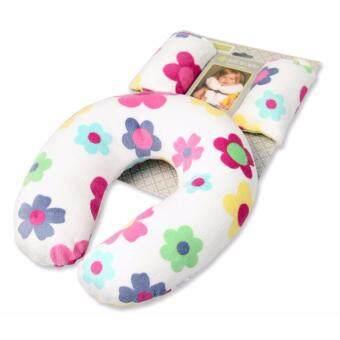 หมอนรองคอเด็ก รุ่นตัวยู พร้อมที่หุ้มเข็มขัด รุ่นดอกไม้ - JTY kids neck pillow with belt cover (flowers)