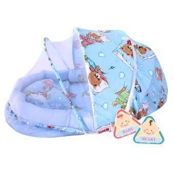 BABY heart ชุดที่นอนมุ้ง จัมโบ้รุ่น 2 in 1 พร้อมหมอนและ หมอนข้าง ลายหมี สีฟ้า