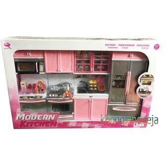 Khonglendee ชุดเซ็ทห้องครัวบาร์บี้ขนาดใหญ่ 18 นิ้ว MODERN KITCHEN สีชมพูอ่อน มีเสียงเละมีไฟ