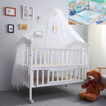 Baby Bed เตียงไม้เด็กสีขาวขนาดใหญ่ รุ่น Big White พร้อมเครื่องนอนสีฟ้าลายหมีน้อย Blue Teddy (สีขาว)