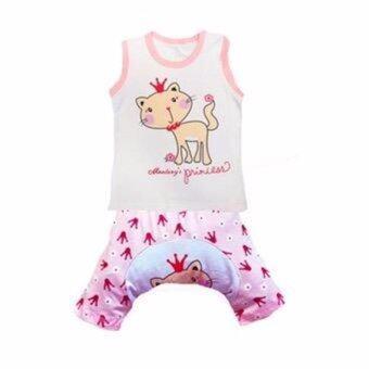 Busha G0009-เสื้อกล้ามสีขาวลายแมวกุ๊นชมพู+กางเกงเสริมก้น
