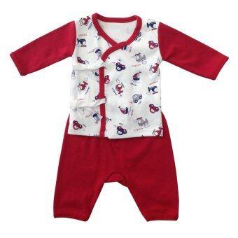 First-wear ชุดเด็กอ่อนแรกเกิด เสื้อผูกหน้าแขนยาว/กางเกงขายาว, ลายรถ/เครื่องบิน (สีแดง-ขาว) ขนาด 0-3 เดือน