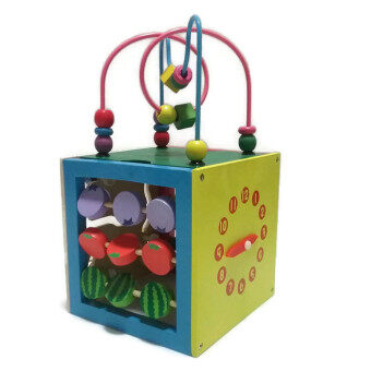 Little Pumpkin ของเล่นไม้ เสริมพัฒนาการ กล่องกิจกรรม 5 ด้าน 5 in 1 พร้อมขดลวด