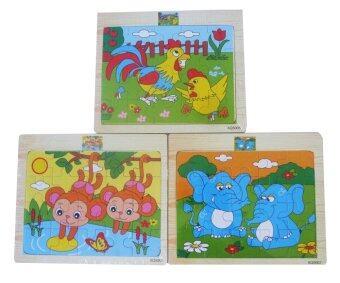 DD Baby จิ๊กซอร์รูปสัตว์ ของเล่นไม้เสริมพัฒนาการ Wooden Toy -3 แผ่น