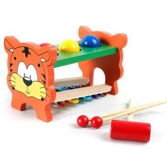 Worktoys ของเล่นไม้ ระนาด ฆ้อนทุบ รูปเสือ 2 in 1