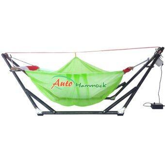 Auto Hammock เปลไกวเด็กอ่อนอัตโนมัติสไตล์เปลญวนกับผ้ามุ้ง (โทนสีเขียว)