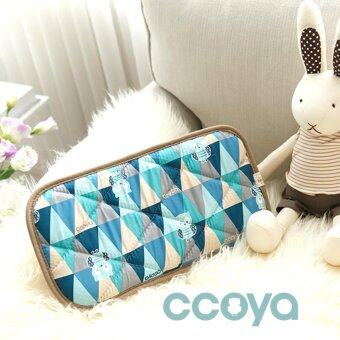 CCOYA หมอนหนุนระบายอากาศ (หมอนหนุนผ้าควิลท์ตาข่าย 3D) สีฟ้า ลายสแกนดิเนเวียน ขนาด 40 x 20 cm.