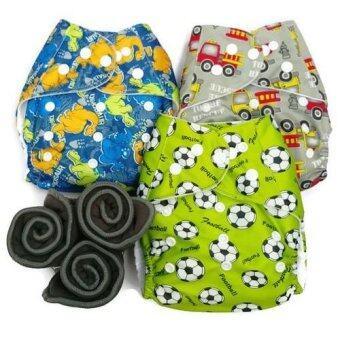 BABYKIDS95 กางเกงผ้าอ้อมกันน้ำ+แผ่นซับชาโคล Size:3-16กก. เซ็ท3ตัว (Blue Dino,Grey Fire Truck, Green Football)