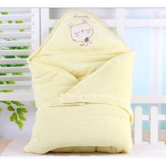 babyshop656 ผ้าห่มห่อตัวเด็กทารก ขนาด90x90 รุ่นแมว (สีเหลือง ) - Baby Towel 90x90 (Kitten yellow)
