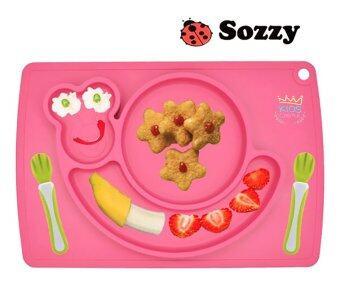 จานซิลิโคนทานอาหารเด็กน้อย ลายหนอนน้อยสีชมพู Sozzy