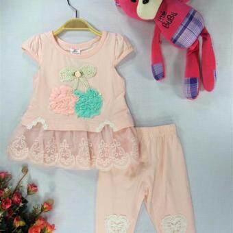 ple shop เสื้อลายผลเชอรี่แต่งชายผ้าลูกไม้+กางเกงเลคกิ้ง สีโอโรส