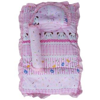 Baby Club ชุดที่นอนเด็กอ่อน ลายการ์ตูนหมี ผ้า TC (สีชมพู)