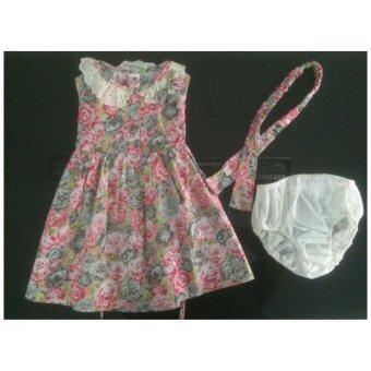 เสื้อผ้าแนววินเทจ Deberry kids(สีสันลายดอกไม้ ชมพู เทา) เนื้อผ้า Cotton 100 เปอร์เซ็นต์