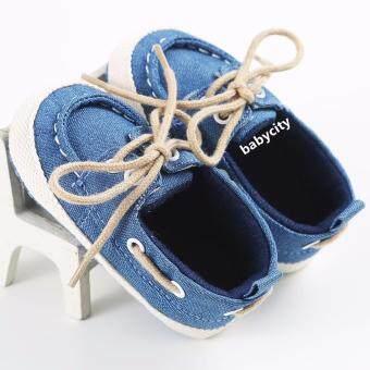รองเท้าหัดเดิน รองเท้าเด็กอ่อน รองเท้าเด็กพื้นผ้า baby shoe Prewalker ของใช้เด็กอ่อน สีน้ำเงิน