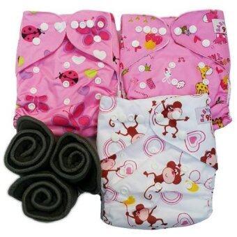 BABYKIDS95 กางเกงผ้าอ้อมกันน้ำ+แผ่นซับชาโคล Size:3-16กก. เซ็ท3ตัว (Pink Ladybug, Pink Animal, White/Pink Animal)