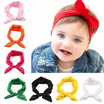 Harga Fashion 8x Baby Girl Elastic Turban Headbands Head Wrap Rabbit Ear Hair Band - intl