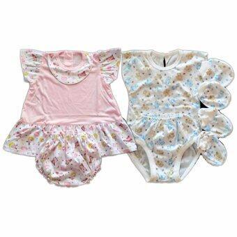 BABYKIDS95 ชุดเด็กอ่อน แรกเกิด-6 เดือน ผ้ายืดนิ่ม 2ชุด รวม 8 ชิ้น (cc-043)