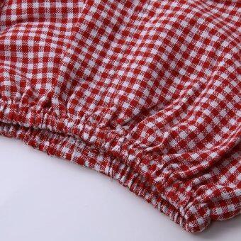 เสื้อผ้าเด็กผู้หญิงแขนเสื้อเซ็ตโบ+กางเกงตาหมากรุก (สีแดง) (image 1)