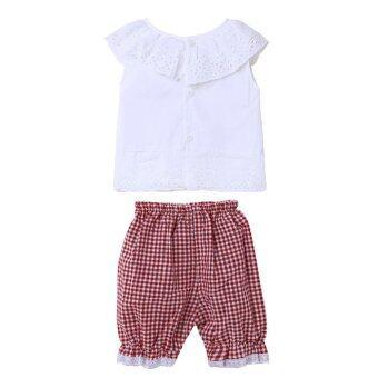 เสื้อผ้าเด็กผู้หญิงแขนเสื้อเซ็ตโบ+กางเกงตาหมากรุก (สีแดง) (image 3)