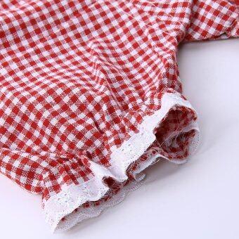เสื้อผ้าเด็กผู้หญิงแขนเสื้อเซ็ตโบ+กางเกงตาหมากรุก (สีแดง) (image 2)