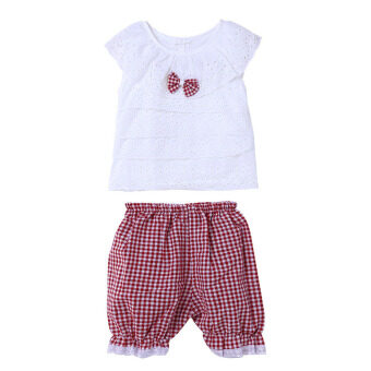 เสื้อผ้าเด็กผู้หญิงแขนเสื้อเซ็ตโบ+กางเกงตาหมากรุก (สีแดง)