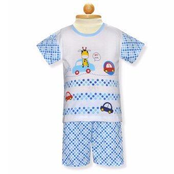 Babybrown ชุดเด็ก เสื้อแขนสั้น , กางเกงขาสั้น สีฟ้า สำหรับเด็กแรกเกิด - 3 เดือน