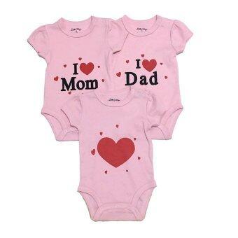 LITTLE BABY M เสื้อผ้าเด็กเล็ก บอดีสูท 3ตัวset Love Mom Dad