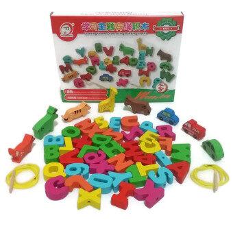 Little Pumpkin ของเล่นไม้ เสริมพัฒนาการ ร้อยเชือกABCตัวเลข เครื่องหมาย สัตว์ และยานพาหนะ49ชิ้น พร้อมเชือก2เส้นและไม้นำ