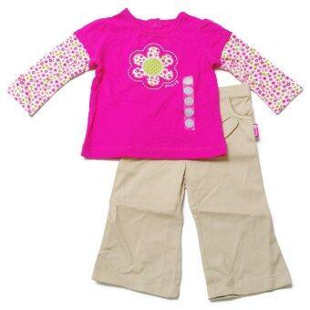 BABYKIDS95 ชุดเด็กผู้หญิง เสื้อแขนยาว+กางเกงขายาว (สีชมพูลายดอกไม้)