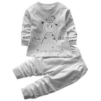 Yeeshop ชุดเด็ก เสื้อ+กางเกงเข้าชุด ลายนกน้อย สีเทา 110# (CaiMian)(0-3years)