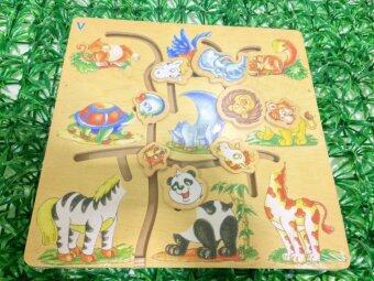 KIDSSHOP HATYAI ของเล่นเสริมพัฒนาการ ของเล่นไม้กระดานต่อภาพจับคู่รูปสัตว์