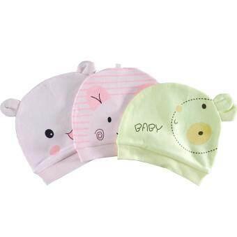 หมวกเด็กอ่อน 1 Set อายุ 0-3 เดือน มี 3 ชิ้น # Q2736