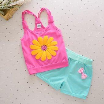 Harga Bear Fashion Baby Sun Flower Girls Clothing Kids Summer Clothes 2pcs Set - intl