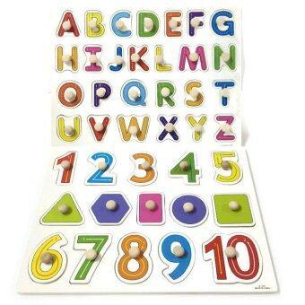 BAANPLOY เซ็ตจิ๊กซอร์หมุดไม้ตัวเลขรูปทรงและจิ๊กซอร์หมุดไม้ABCพิมพ์ใหญ่(2แผ่น)