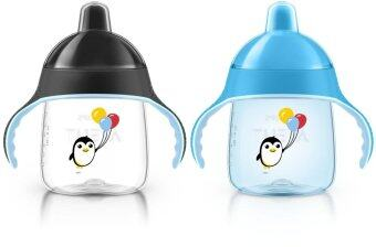 AVENT ถ้วยหัดดื่ม AVENT 9oz ลายนกเพนกวิน รุ่นใหม่ - Black/Blue (แพคคู่)