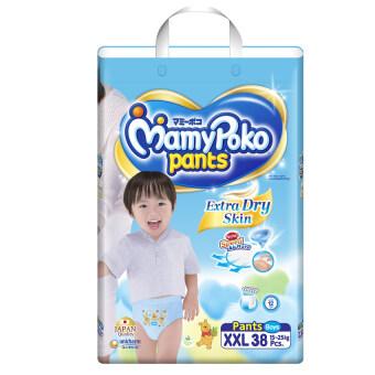 Mamy Poko กางเกงผ้าอ้อม รุ่น Extra Dry Skin ไซส์ XXL 38 ชิ้น (สำหรับเด็กชาย)
